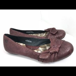 Born Molly bow Leather Ballet Flat Burgundy 41/9.5